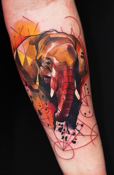 de7090dd7 Watercolor Funky Animal Tattoo Design For Forearm By Ivana Belakova