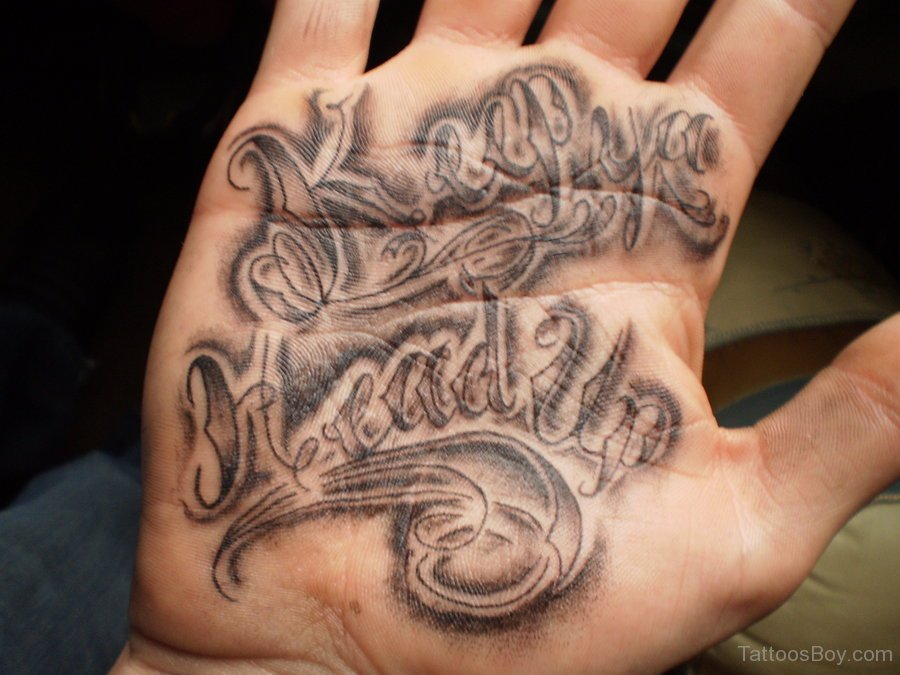 Words Tattoo On Hand Palm