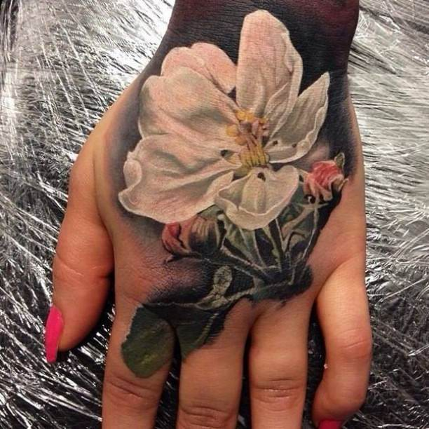 3d White Orchid Tattoo On Girl Left Hand
