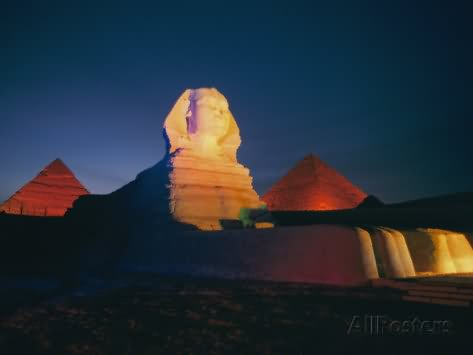 A Night View Of The Great Sphinx Of Giza And Pyramids