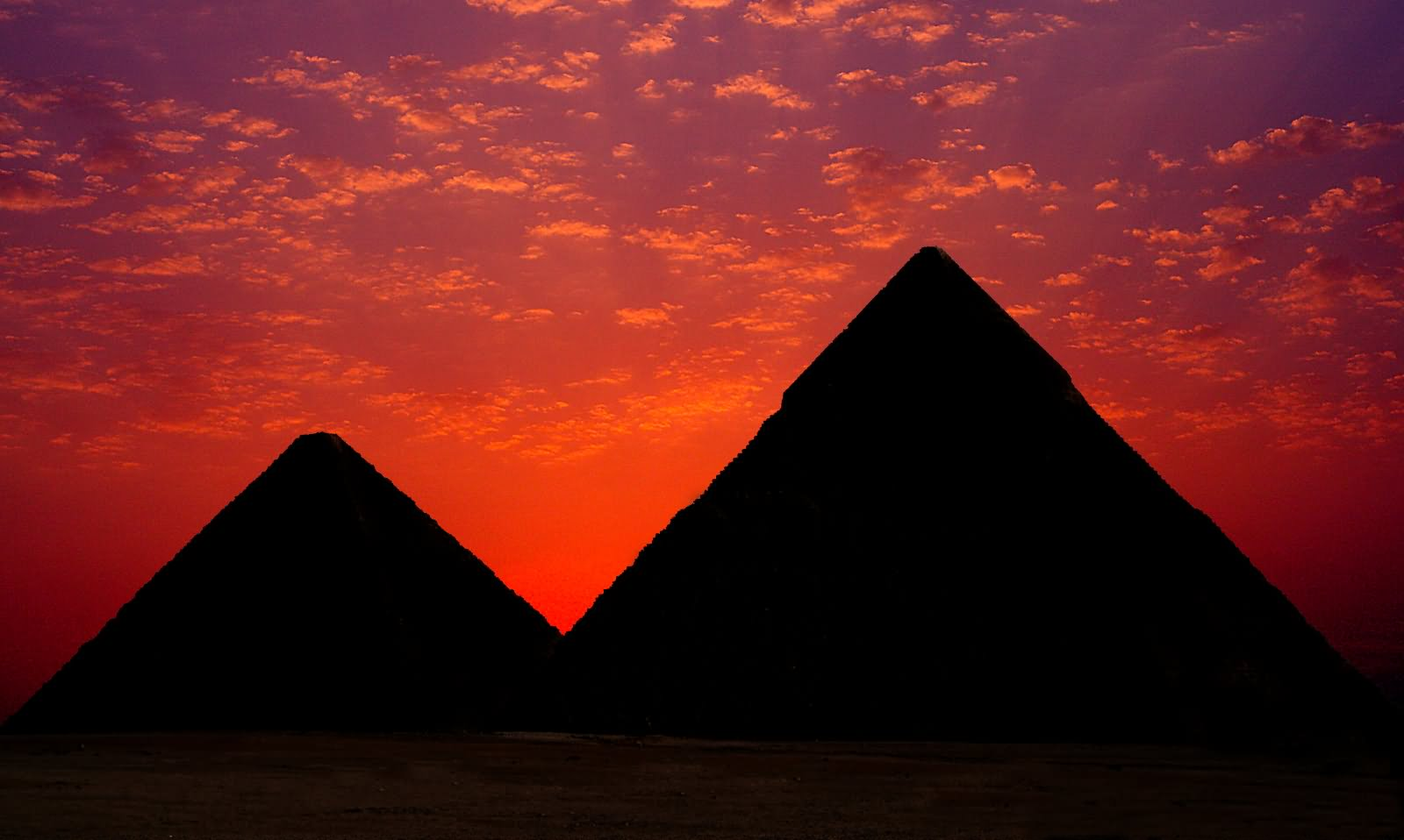 Adorable Silhouette View Of Egyptian Pyramids During Sunset