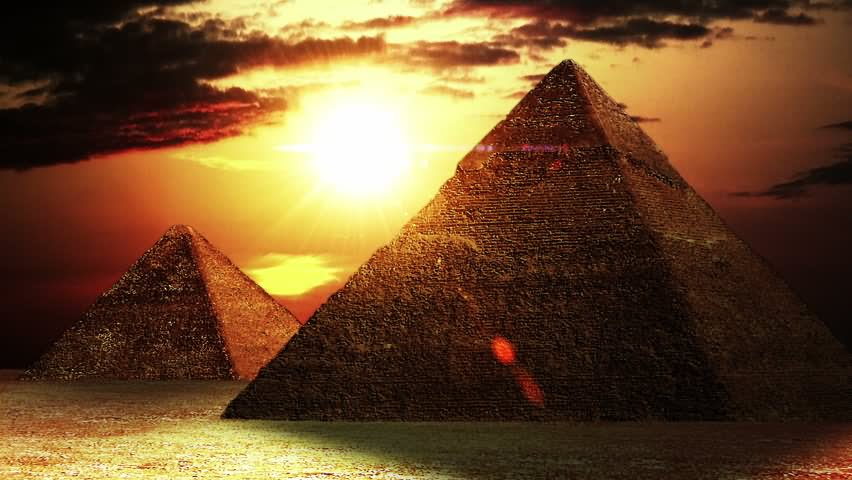 Adorable View Of Egyptian Pyramids During Sunset