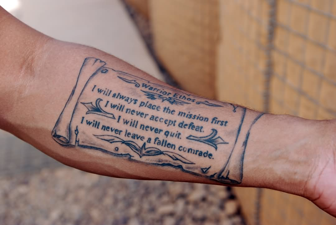 9323824eb Amazing Military Quotes Tattoo On Forearm