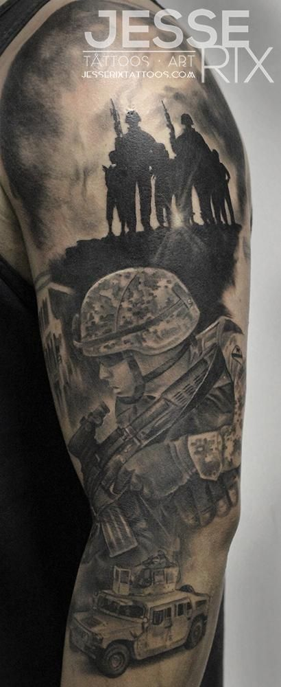 522abea88 Amazing Military Soldier Tattoo On Left Full Sleeve