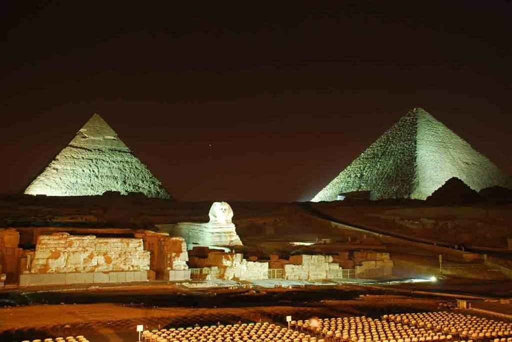 Amazing Night View Of The Egyptian Pyramid, Egypt
