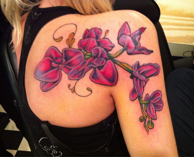 2622f3802 Amazing Right Back Shoulder Orchid Tattoos