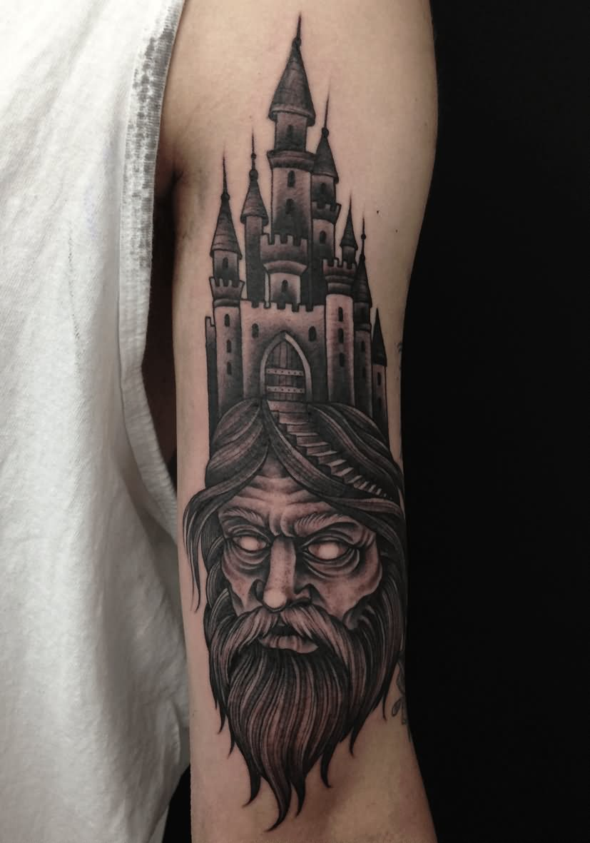 21 nice wizard and castle tattoos for Wizard tattoo designs