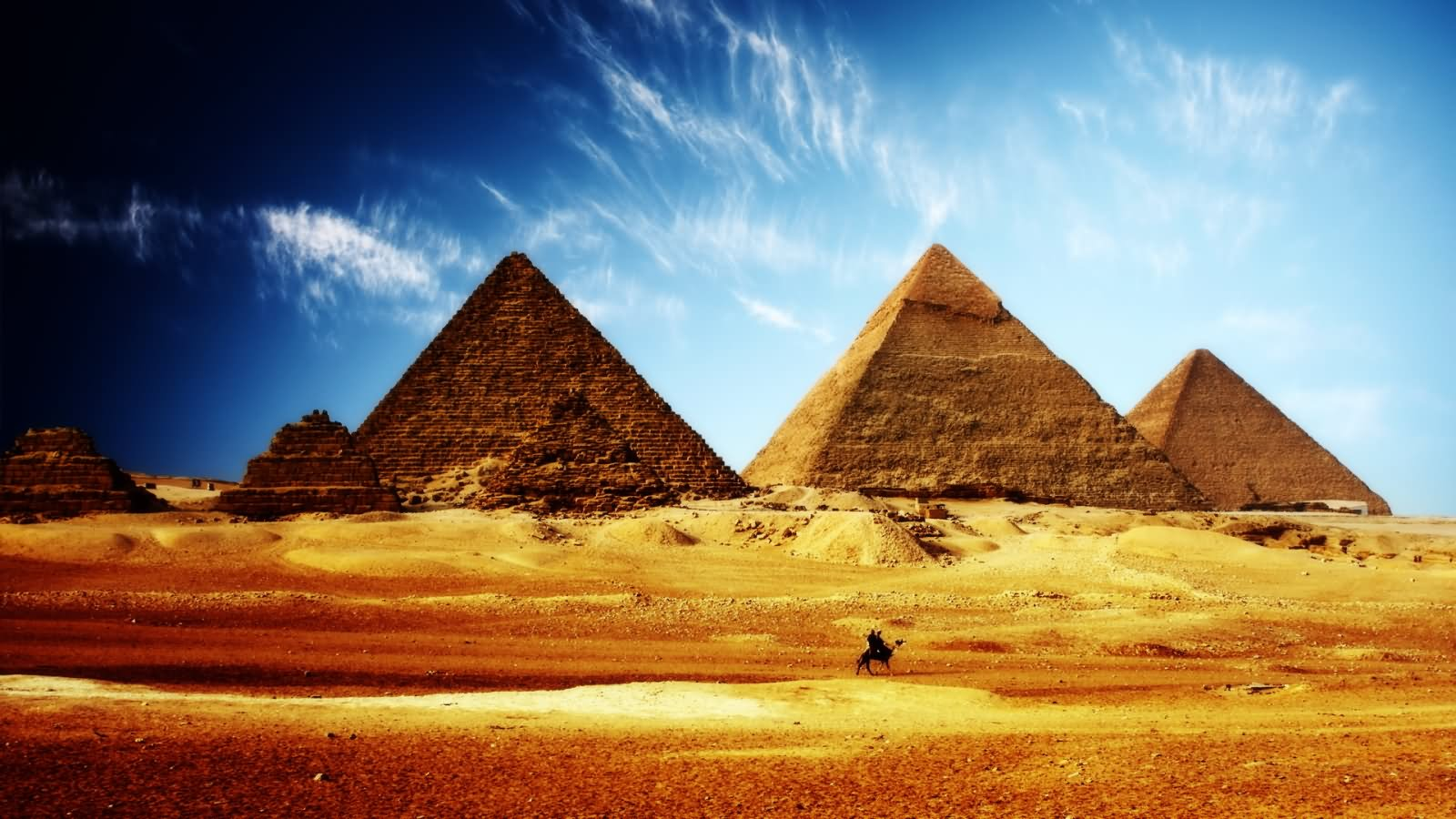 Ancient Egyptian Pyramids During Sunset