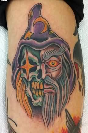 20 traditional wizard tattoos for Wizard tattoo designs