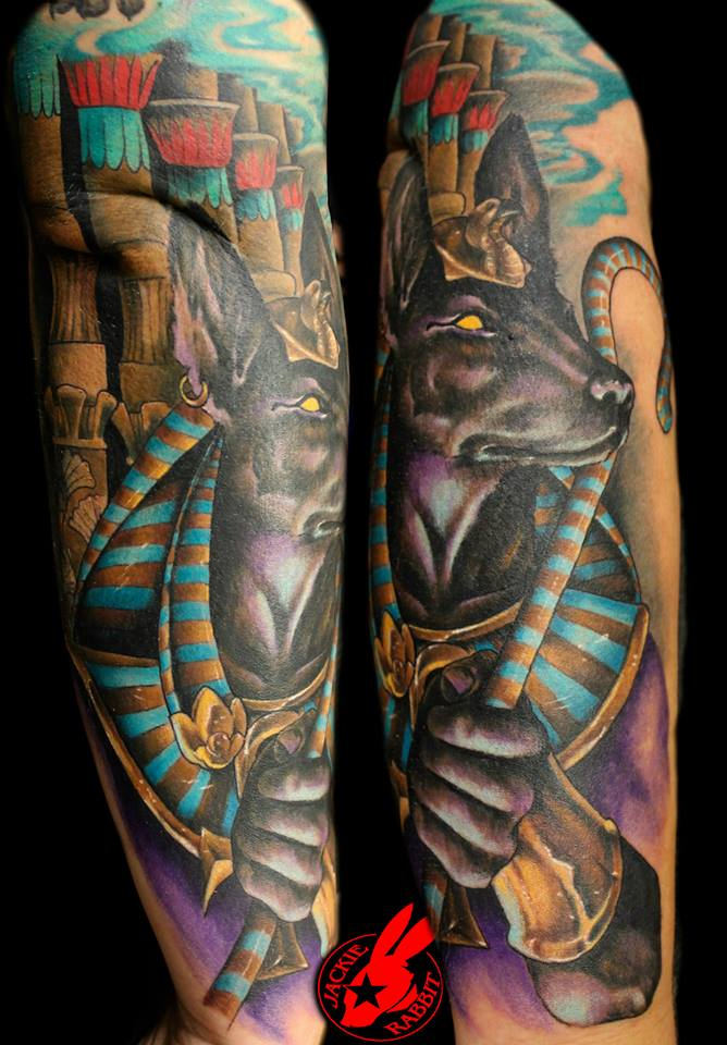 30+ Egyptian Anubis Sleeve Tattoos