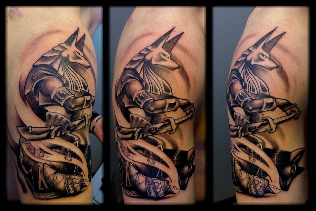 701179099 Anubis Egyptian God Tattoo On Side Neck