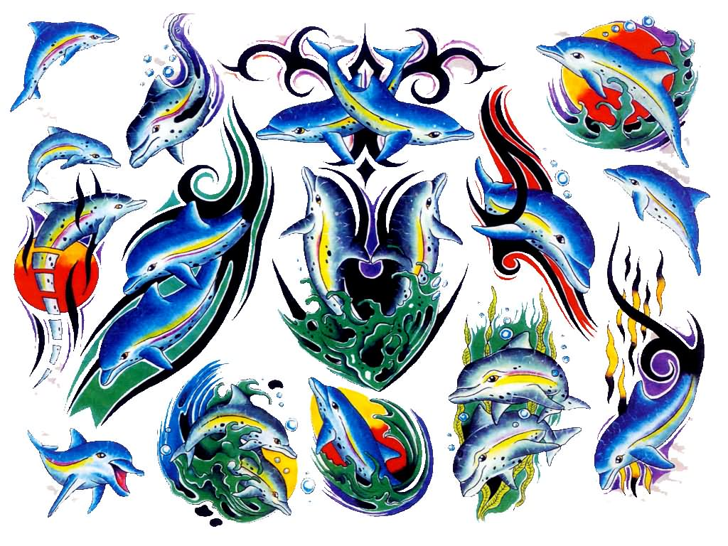 Pics photos dolphin tattoo design tattoos art and designs - Awesome Colored Dolphin Tattoo Design