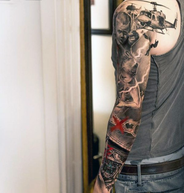 24 awesome military sleeve tattoos. Black Bedroom Furniture Sets. Home Design Ideas
