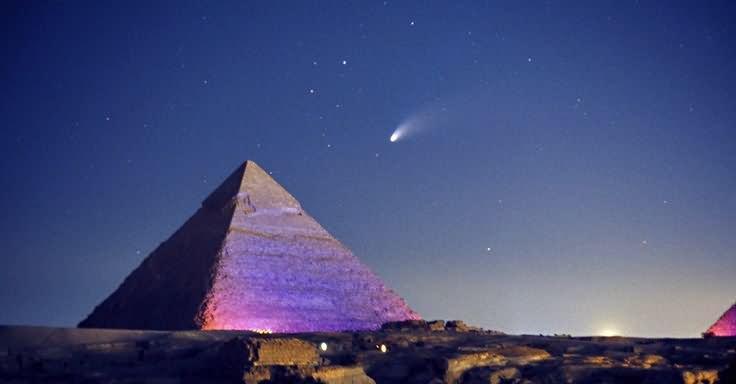 Beautiful Egyptian Pyramid Night Photo