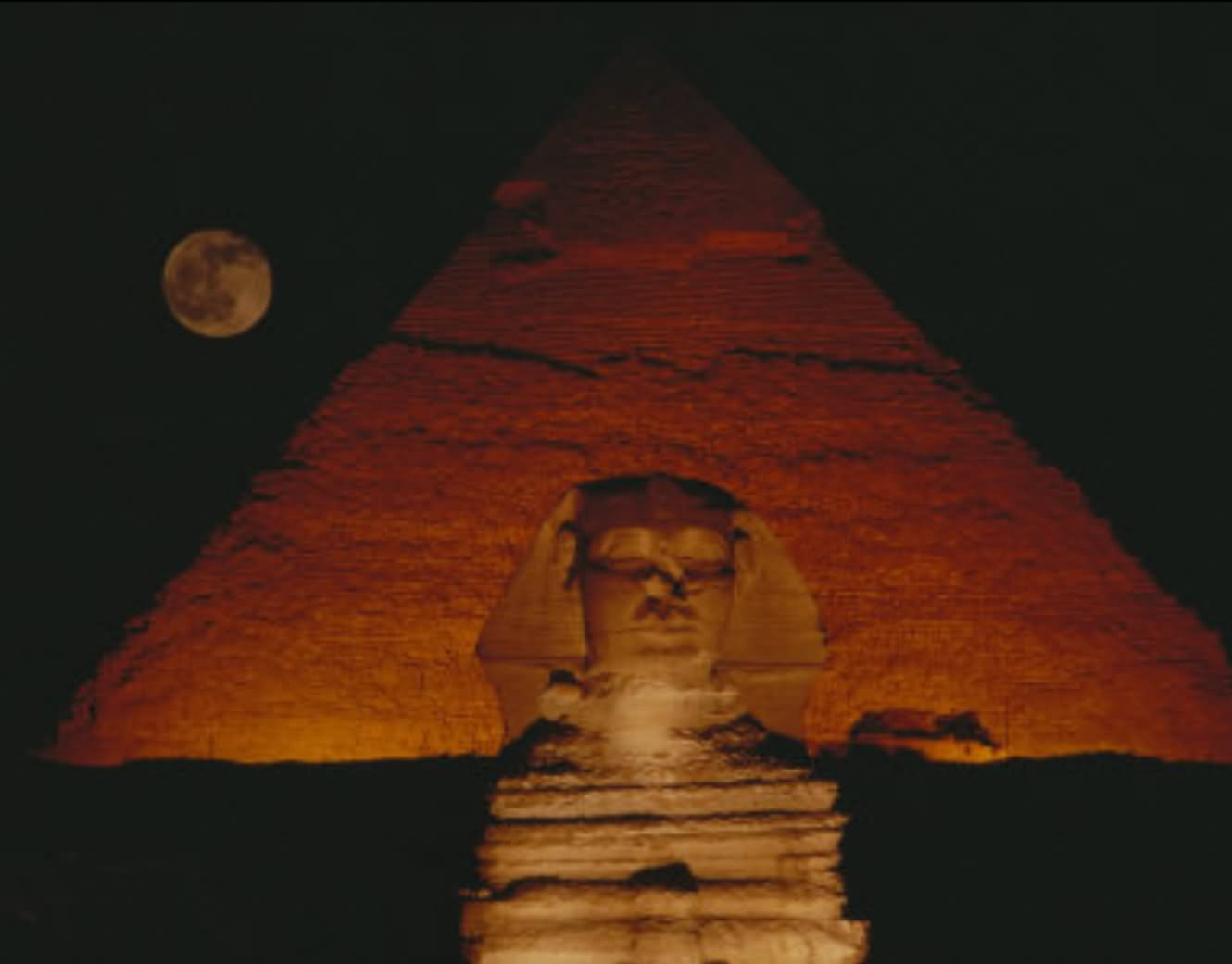 Beautiful Night View Of The Great Sphinx Of Giza And Pyramid