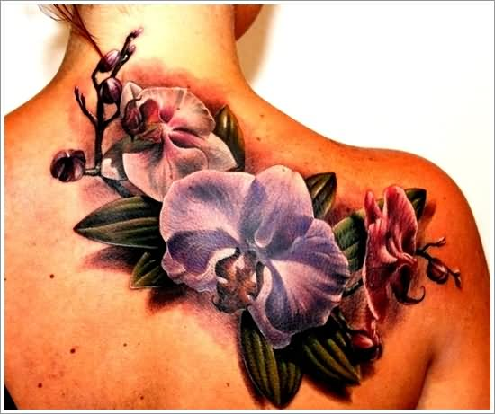 a516f7457 Beautiful Orchid Tattoo On Right Back Shoulder