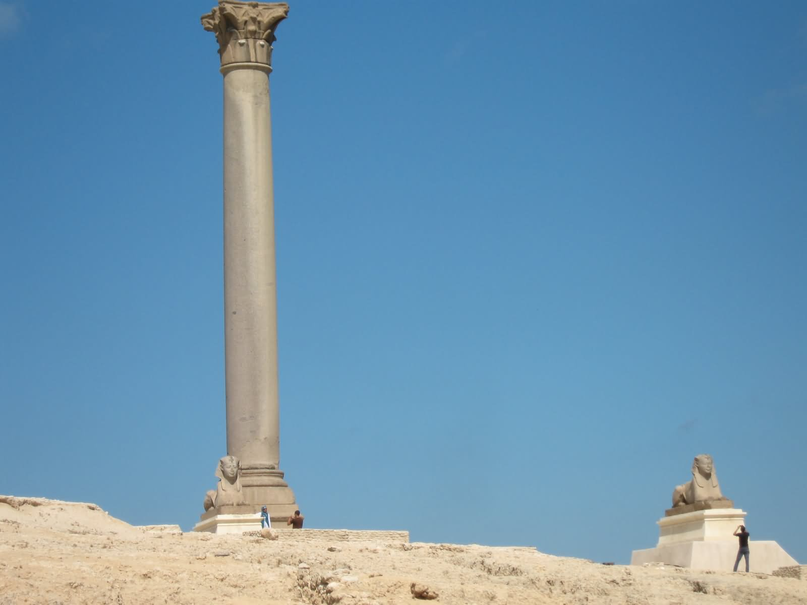 Beautiful Picture Of Pompey S Pillar And Two Sphinx