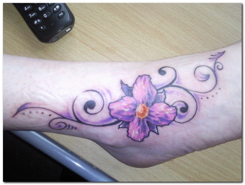 099d04a56a046 Beautiful Purple Orchid Tattoo On Right Foot
