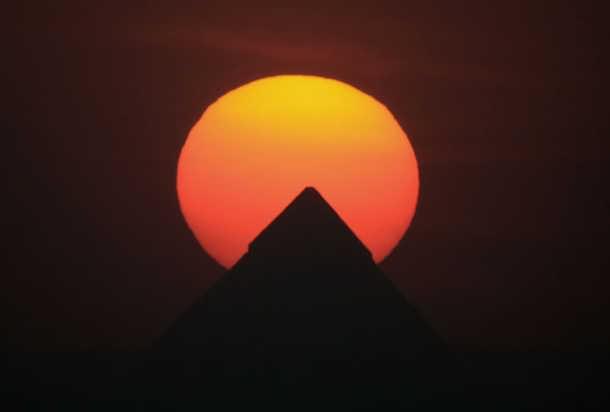 Beautiful Sunset Before Egyptian Pyramids