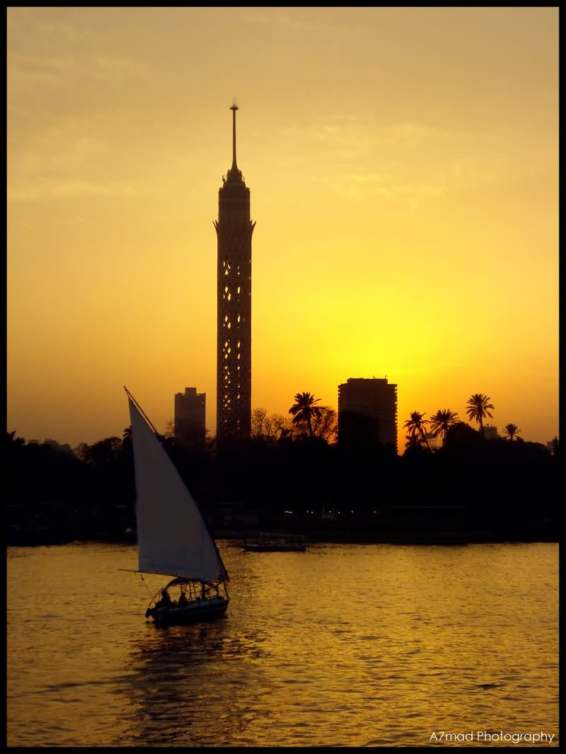 Beautiful Sunset View Of Cairo Tower, Cairo, Egypt