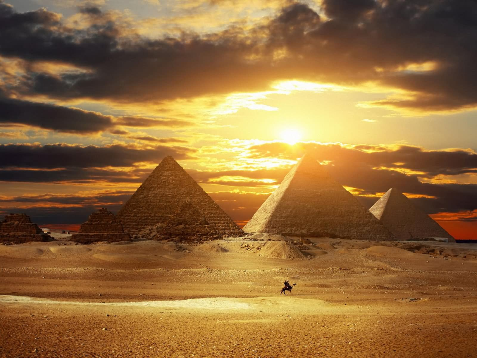 Beautiful Sunset View Of Egyptian Pyramids, Egypt