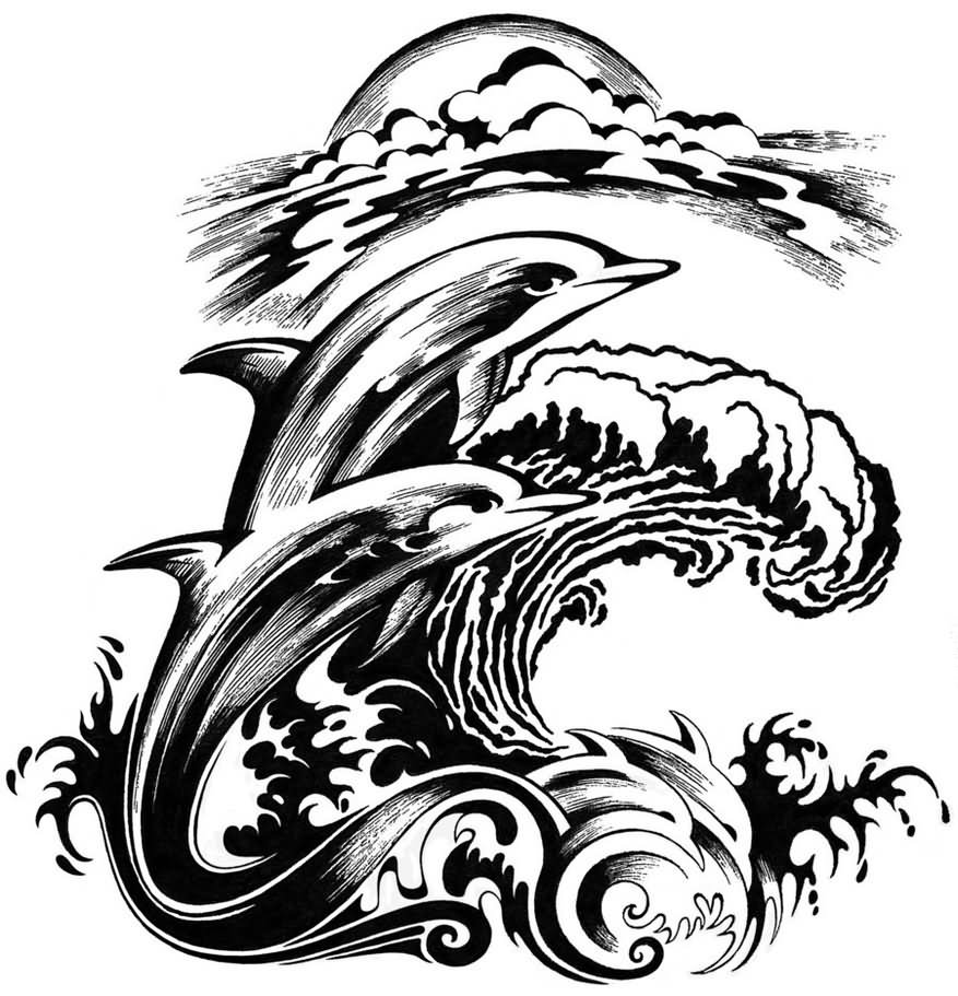 Pics photos dolphin tattoo design tattoos art and designs - Black And Grey Dolphin Tattoos Designs