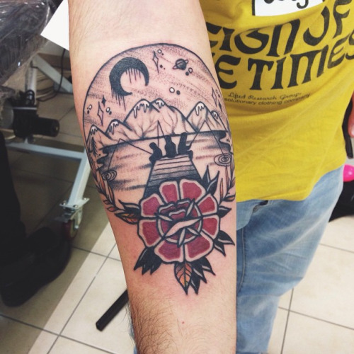 25 traditional scenery tattoos for Traditional black and grey tattoo