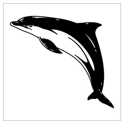 black and white jumping dolphin tattoo design