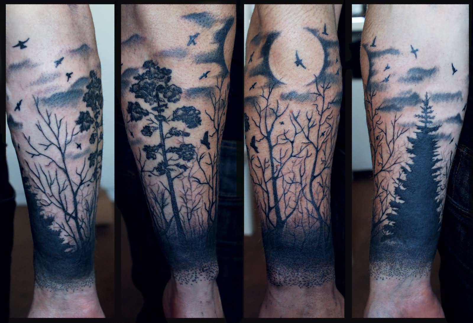20 nice forest scenery tattoos for Black tattoo ink