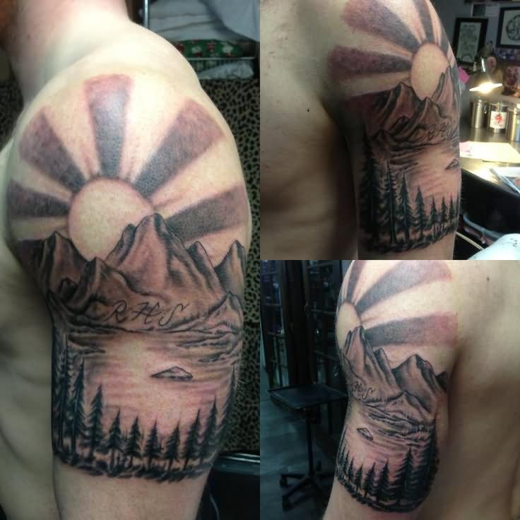37 wonderful mountain scenery tattoos for Mountain man tattoo