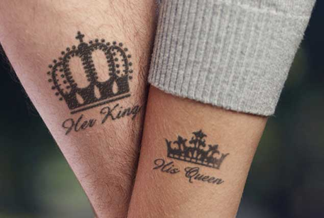 Black king and queen crown tattoo on couple wrist black king and queen