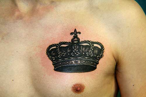 38 fantastic king crown tattoos for Crown chest tattoo