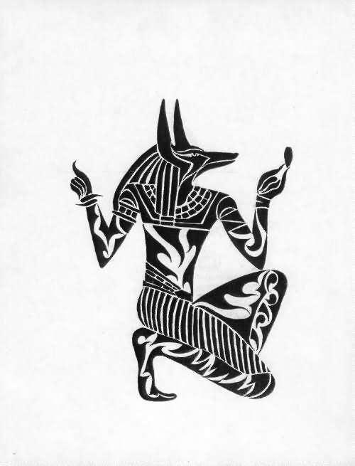 28e2ccbf4 Black Tribal Anubis Tattoo Design