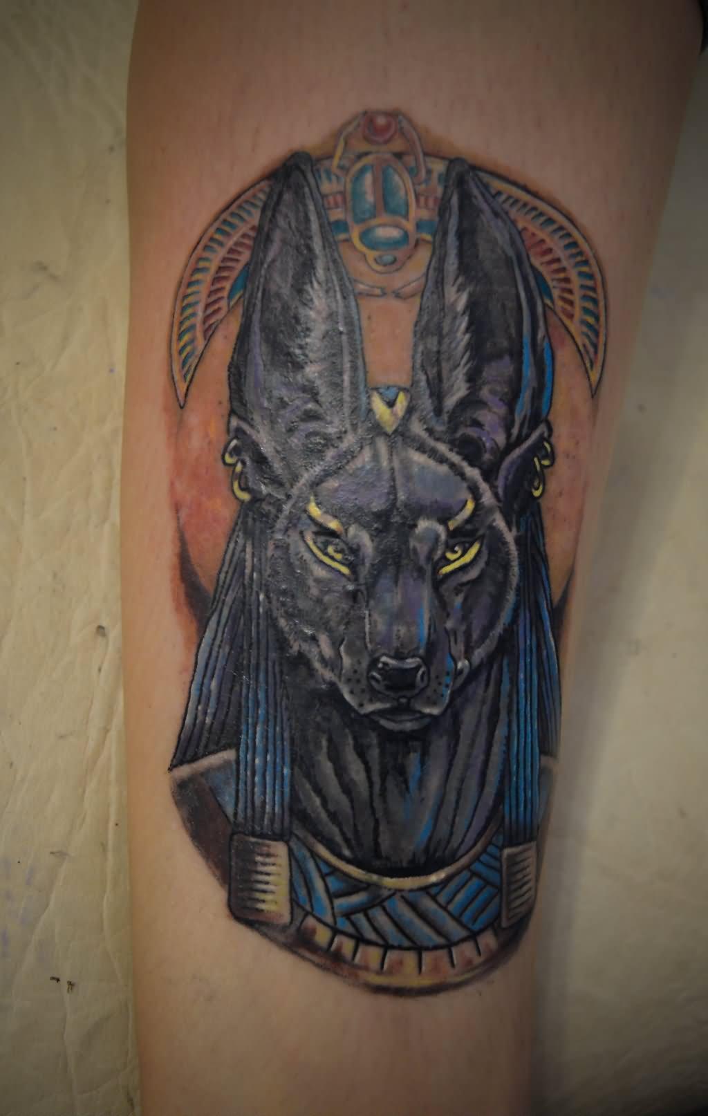 grey ink anubis tattoo design. Black Bedroom Furniture Sets. Home Design Ideas