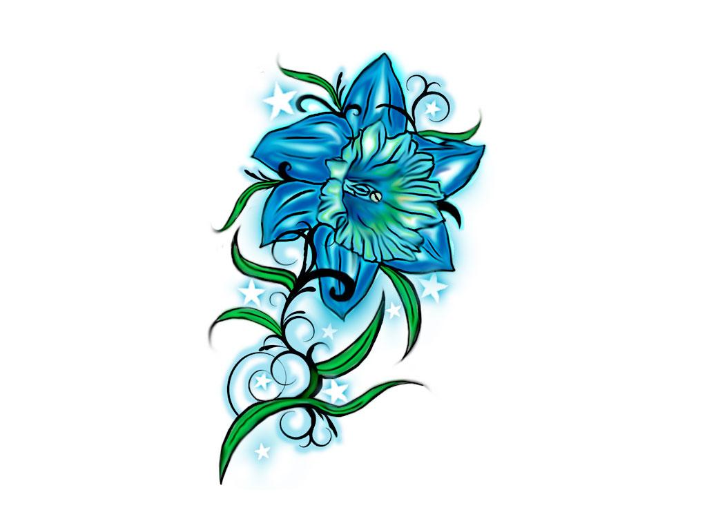 Blue Orchid Tattoo Design Idea