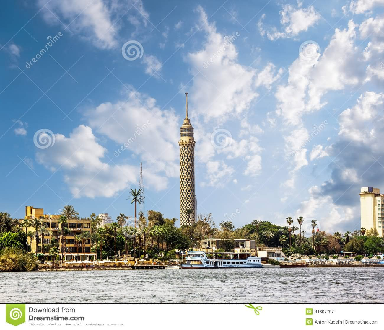 Cairo Tower Across The Nile River View In Egypt