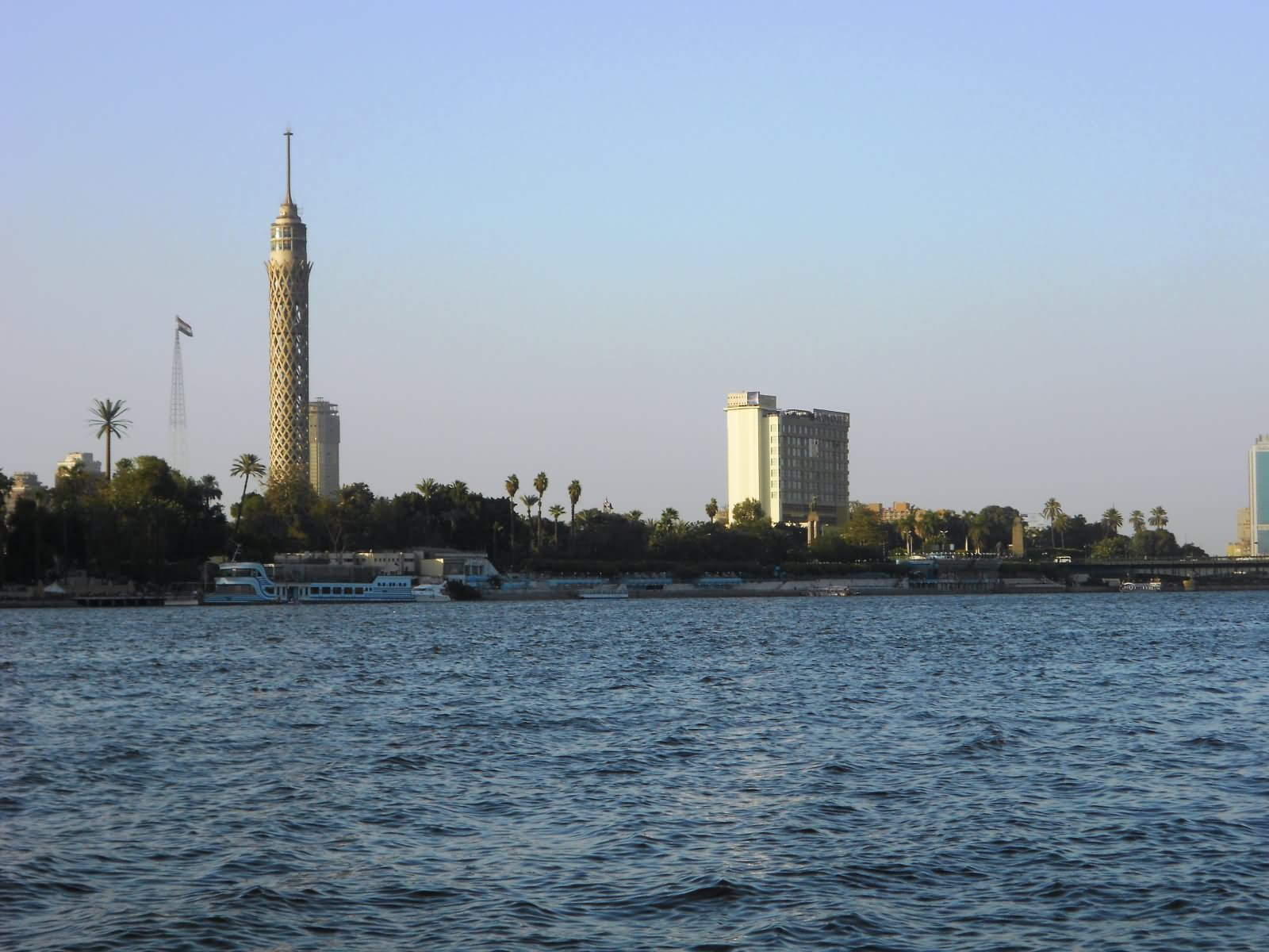 Cairo Tower From The Vantage Point Of A Boat In The Nile