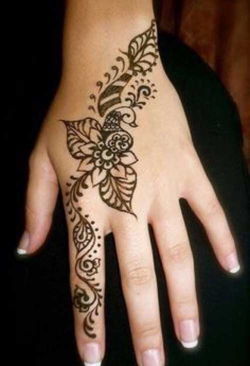 49 beautiful henna tattoos for girls for Flower tattoos on hand