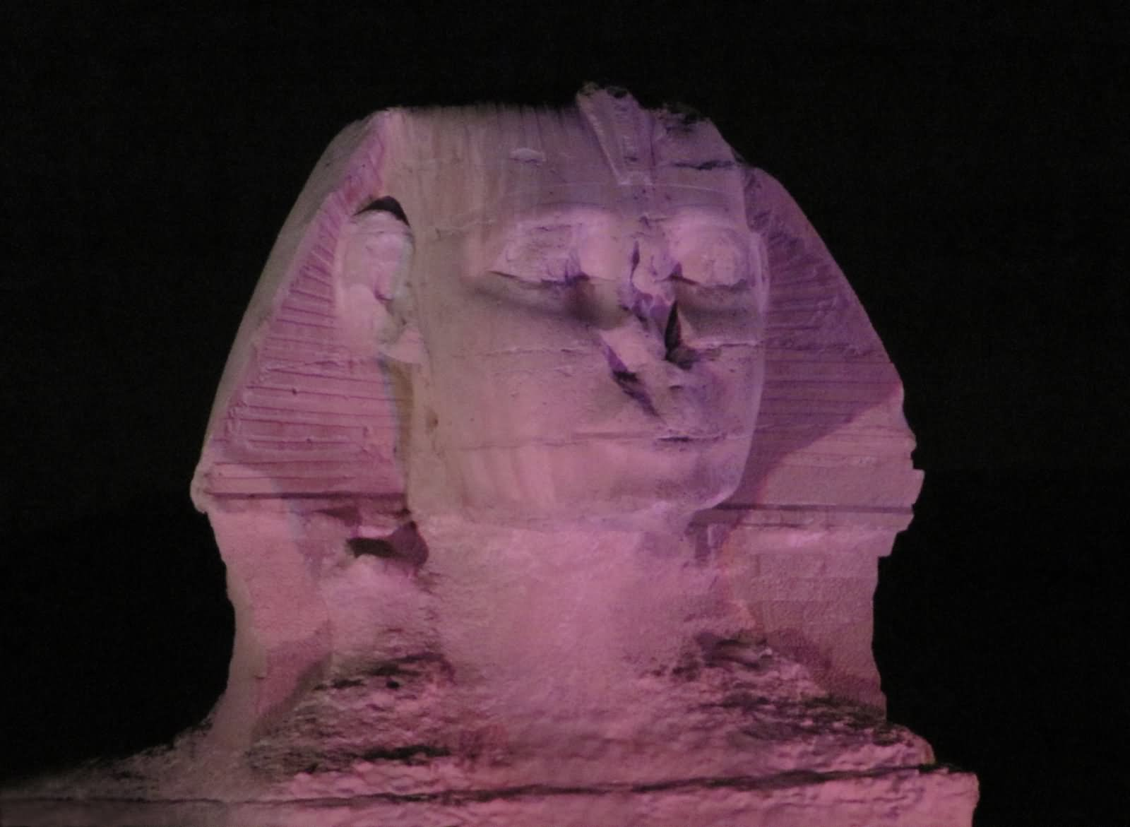 Closeup Of Face Of Great Sphinx At Night