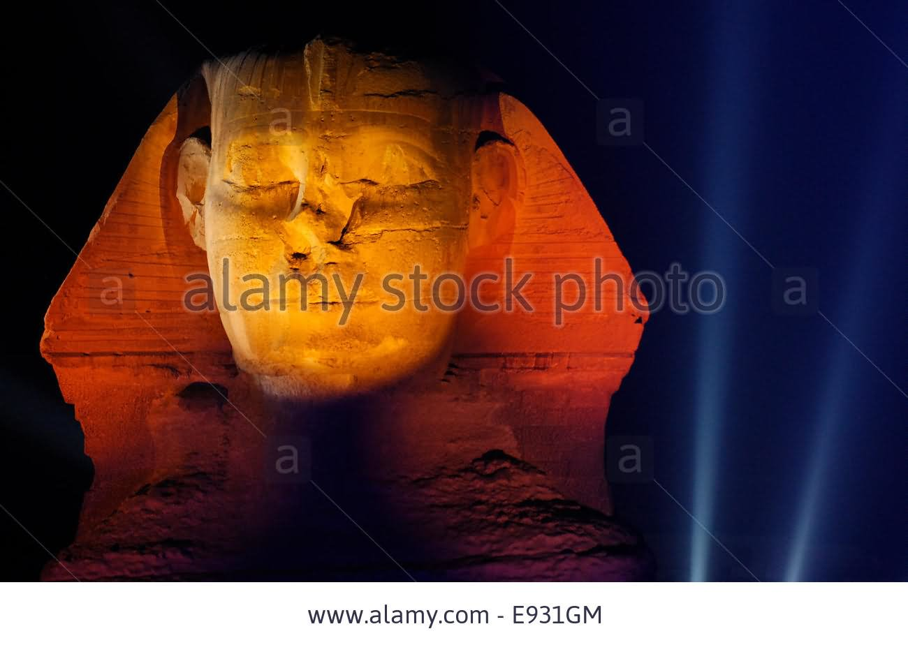 Closeup Of The Face Of Great Sphinx Of Giza At Night