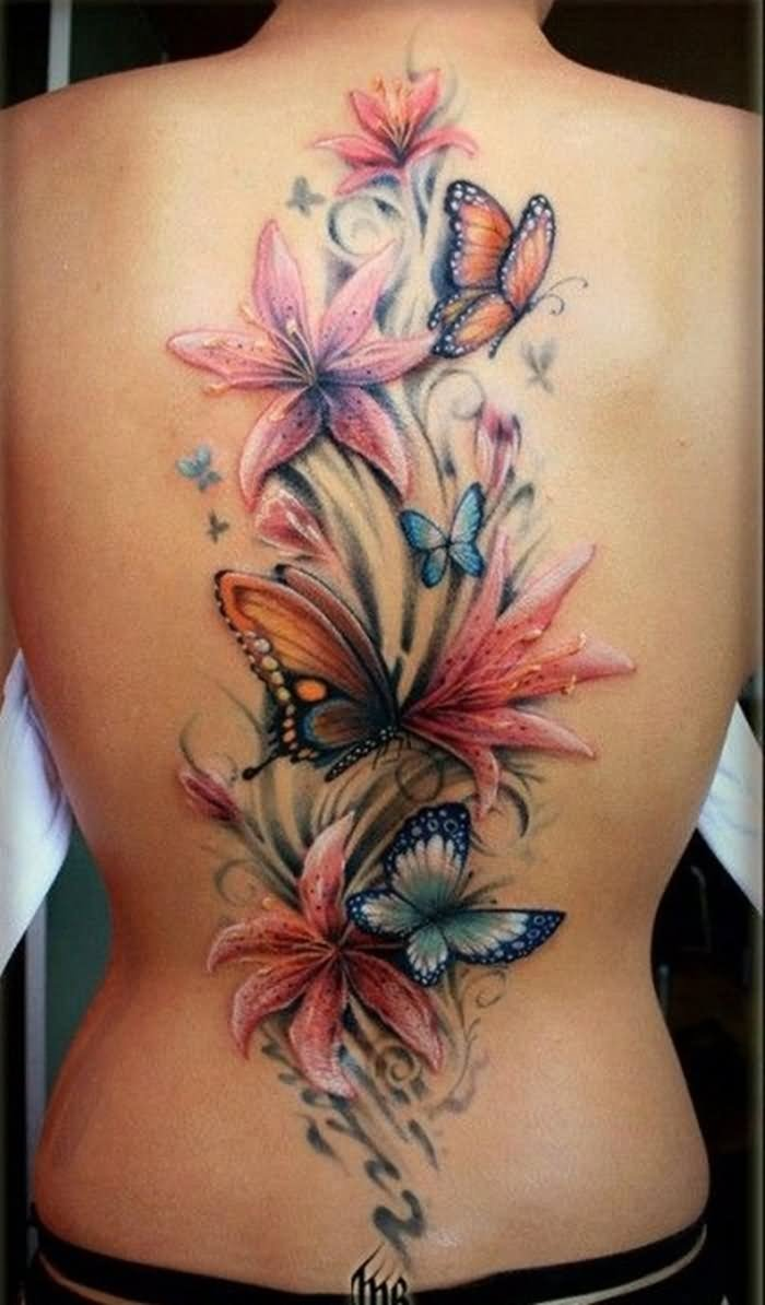 062ffc5b56057 Colored Butterflies And Orchid Tattoos On Full Back
