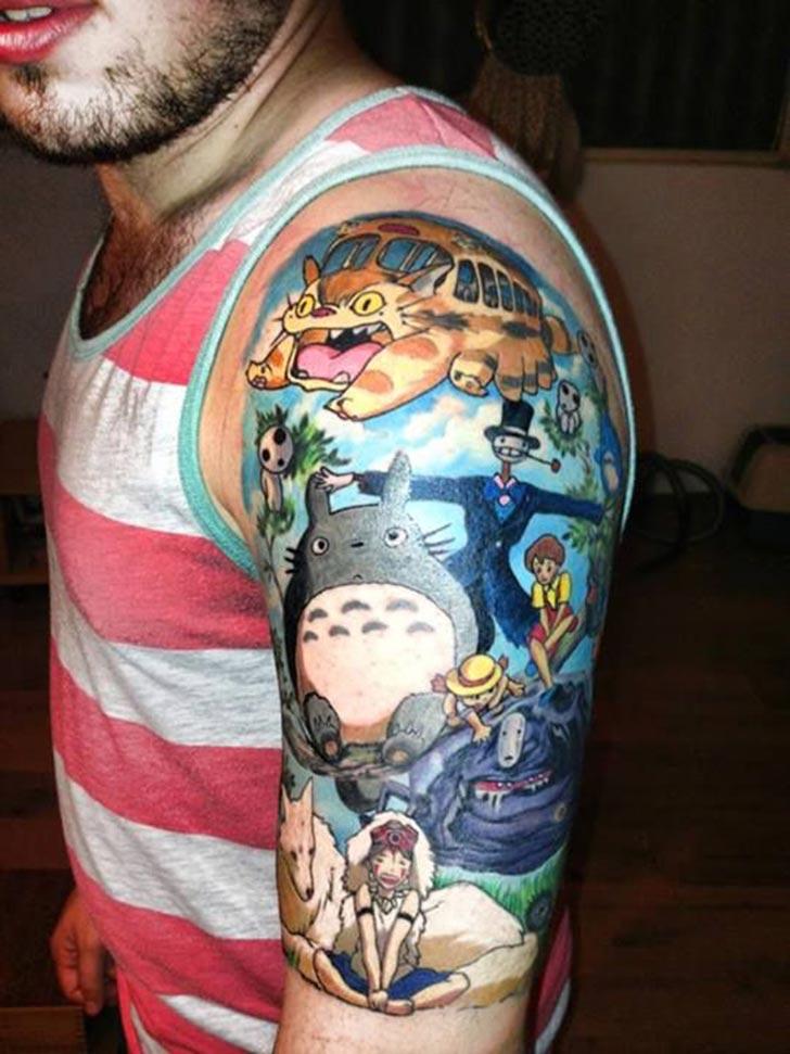 Colored Geek Tattoos On Left Half Sleeve
