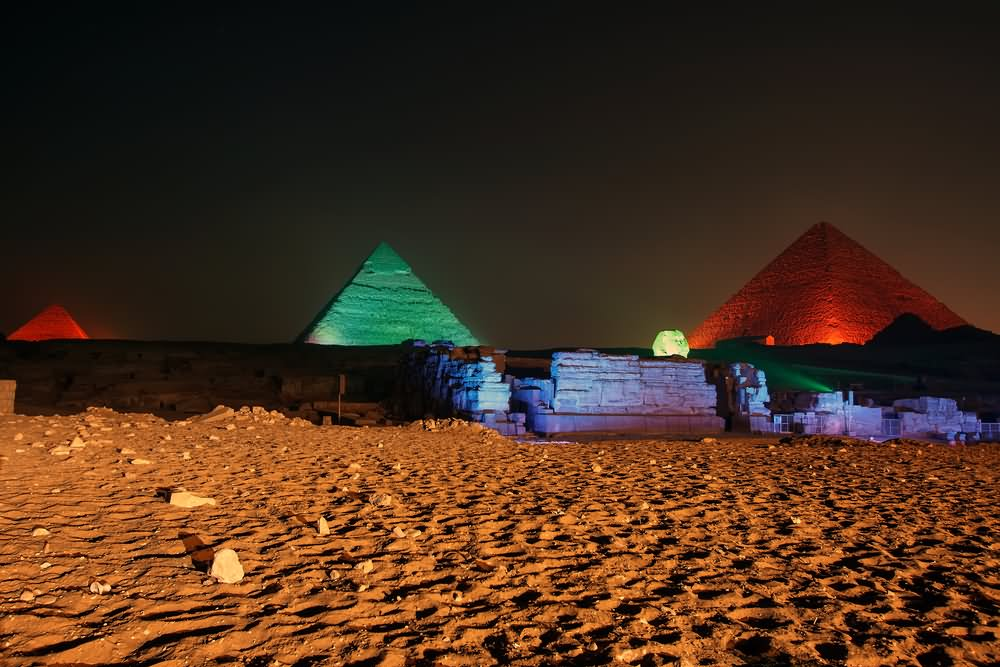 Colorful Lights At The Egyptian Pyramid Night View