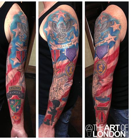 05296292b4200 Colorful Military Tattoo On Full Sleeve
