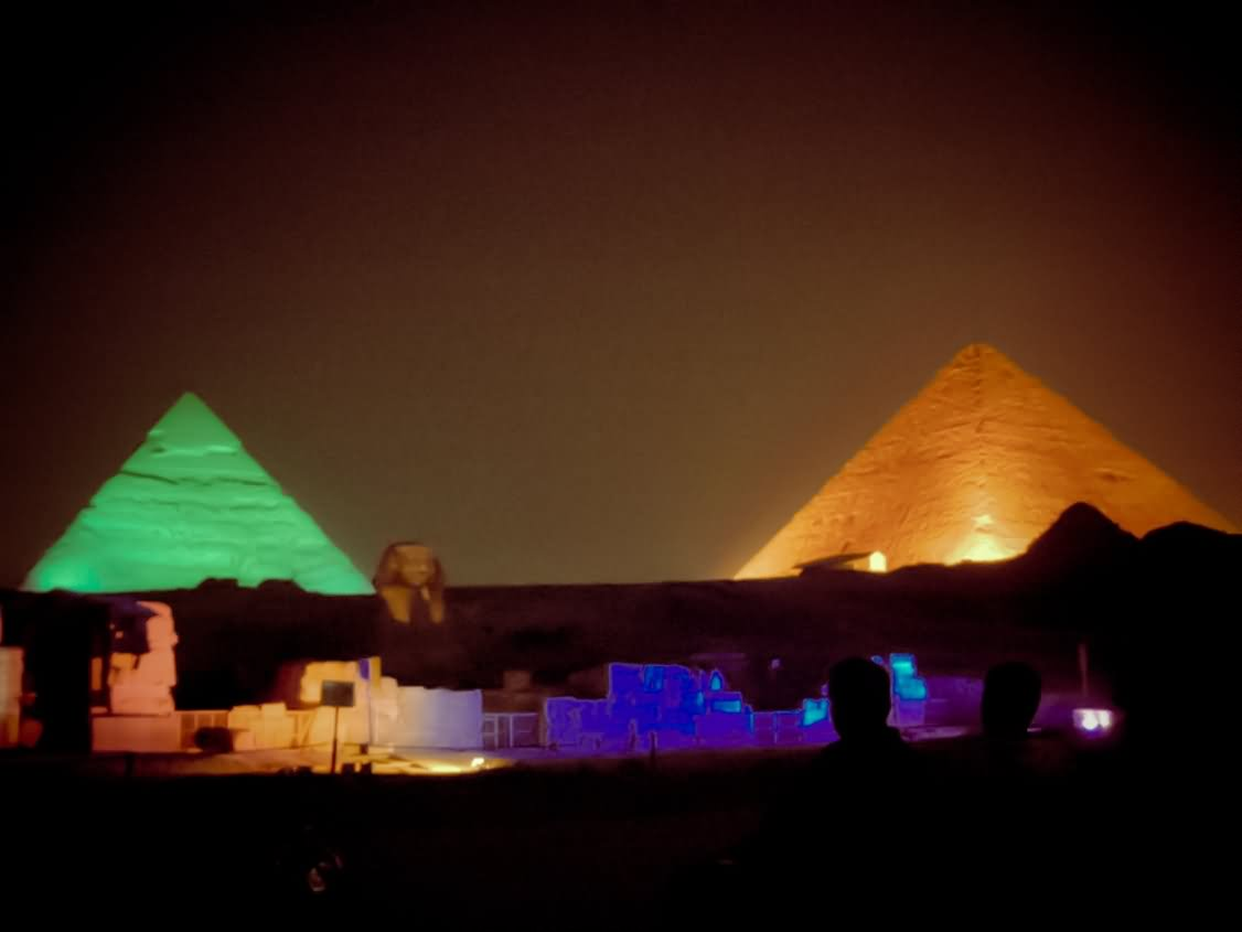 Colorful Night Lights At Egyptian Pyramid