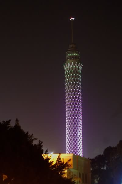 Colorful View Of Cairo Tower At Night