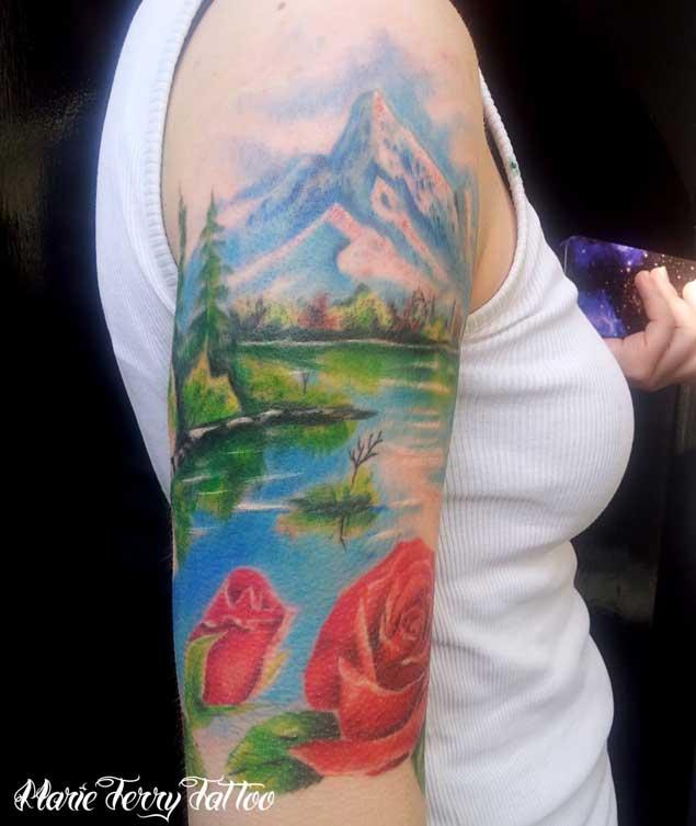 37 wonderful mountain scenery tattoos for Mountain tattoo sleeve