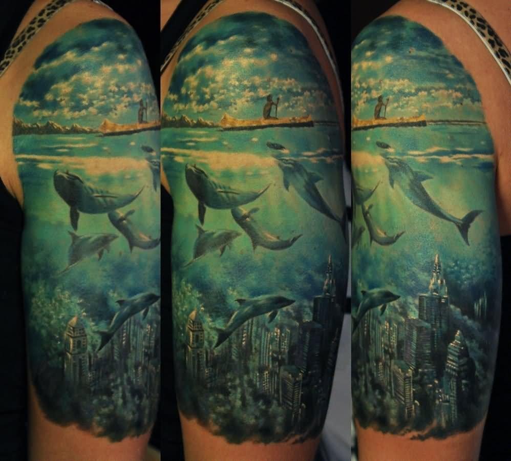 23+ Amazing Ocean Scenery Tattoo