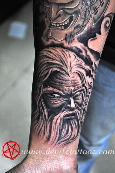 Dark ink demon and wizard tattoo on forearm for Ink wizard tattoo