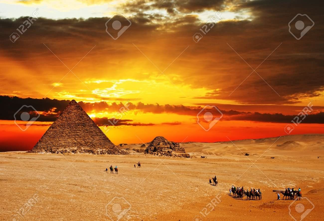 Egyptian Pyramid During Sunset Picture